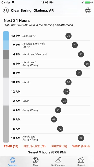 Screenshot of Dark Sky Weather App