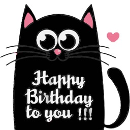 Cute Cat Birthday Stickers