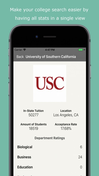 Screenshot of California Dream School App