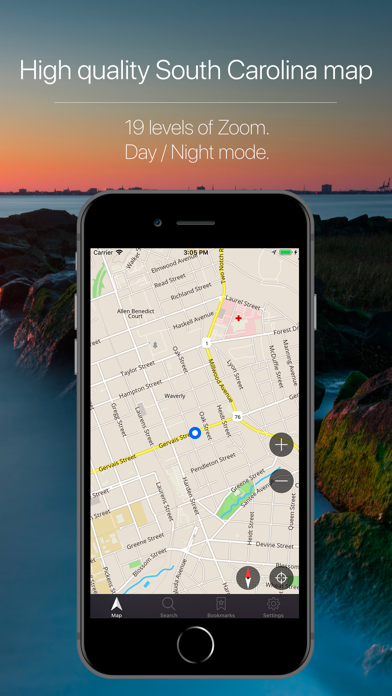 South Carolina, USA Navigation Screenshot