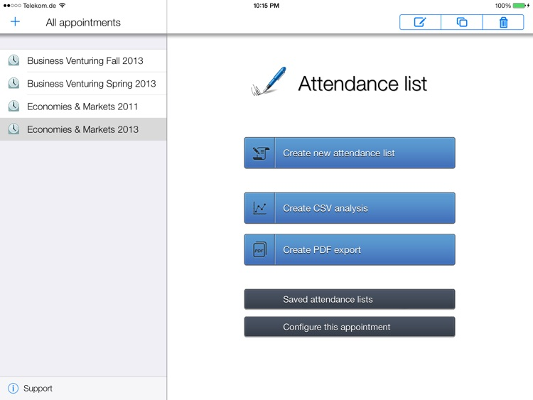 Attendance lists screenshot-0