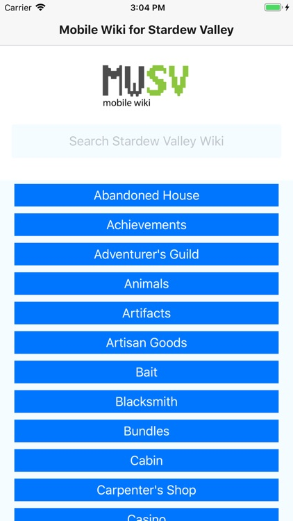 Mobile Wiki for Stardew Valley