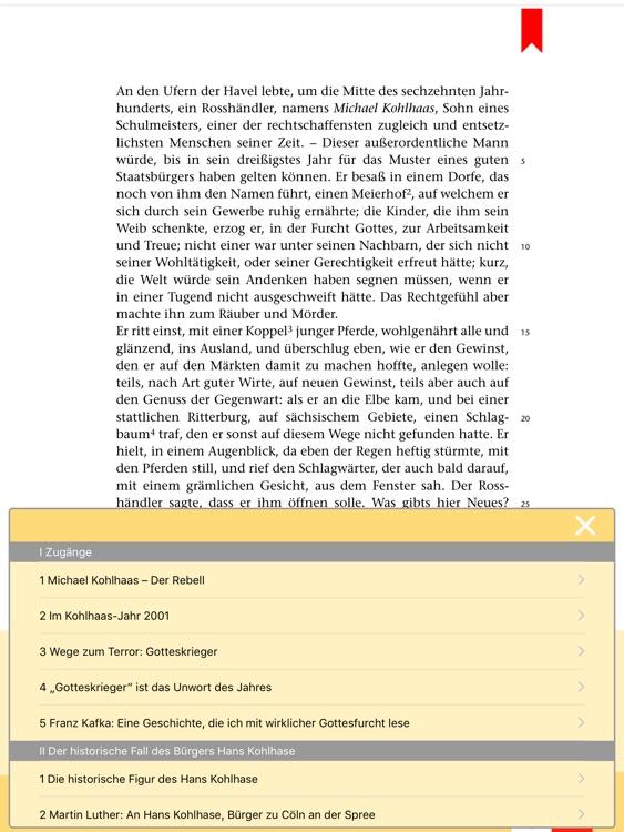 Michael Kohlhaas -  Edition.Hörbuch  Deutsch-Lektüren zum Lesen und Hören von Klett für Oberstufe und Abitur mit Zusatzmaterialien screenshot-3