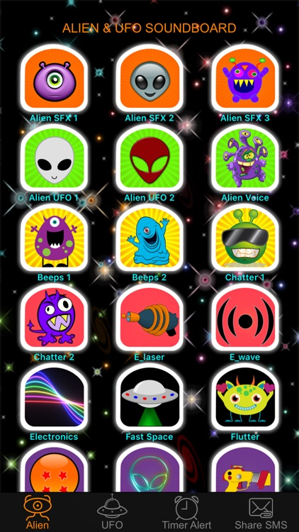 Alien Voice & UFO Soundboard Button Free: 90+ Sci-Fi Sound Effects of Robot Chatter & Space Flying