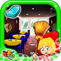 Fast Food Restaurant Wash - Clean up the messy kitchen & dishes in this kid's game