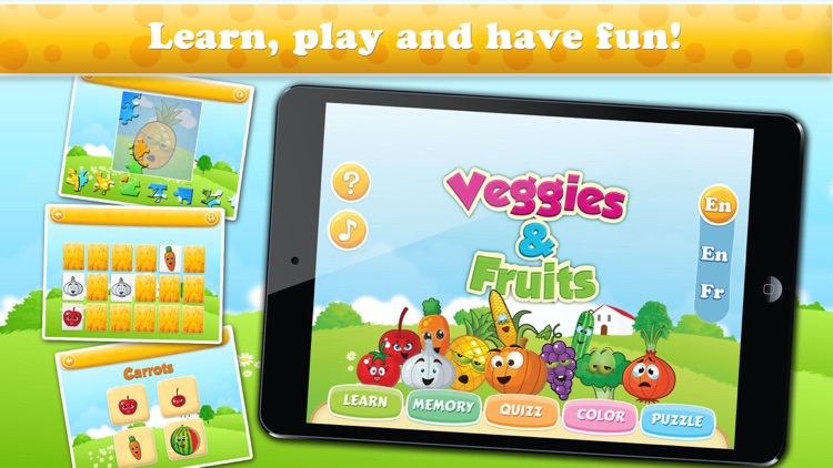 Veggies & Fruits HD : Learning, colouring and educational games for kids and toddlers!