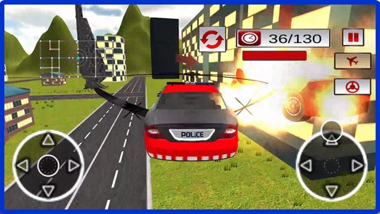 Flying Car Racing Police Chase – Futuristic Flying thief escape Simulator screenshot-4