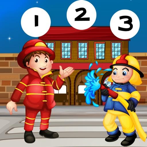123數學遊戲學校兒童和嬰兒:第一任務和學習與消防和警察計數