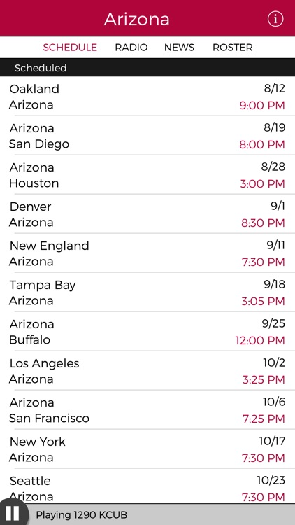 Arizona Football Radio & Live Scores