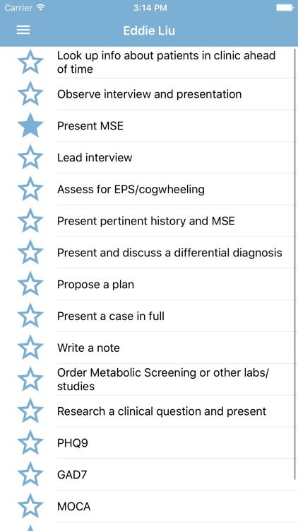 Psych Student Clinical Checklist