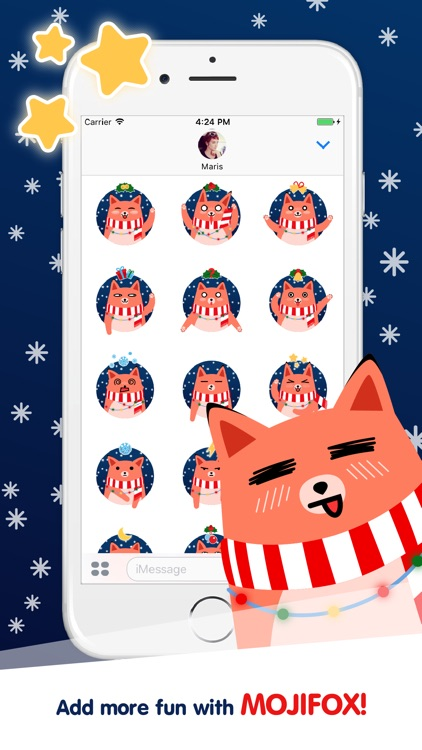 Moji Fox Animated Christmas Sticker Pack