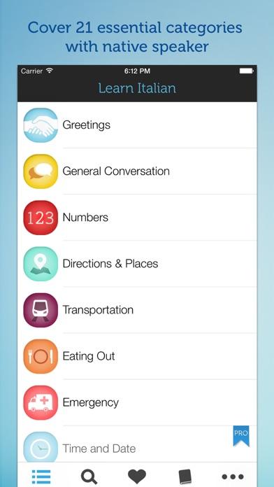 Screenshot for Learn Italian - Phrasebook for Travel in Italy, Rome, Florence, Venice, Milan in Azerbaijan App Store
