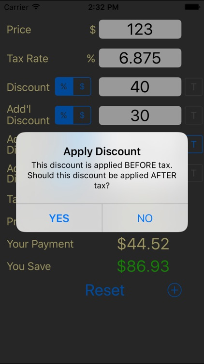 Sales Tax and Discount Calculator shopping n save