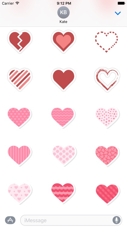 Text Hearts Pack for iMessage