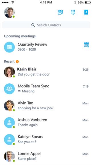 Skype for BusinessScreenshot von 1