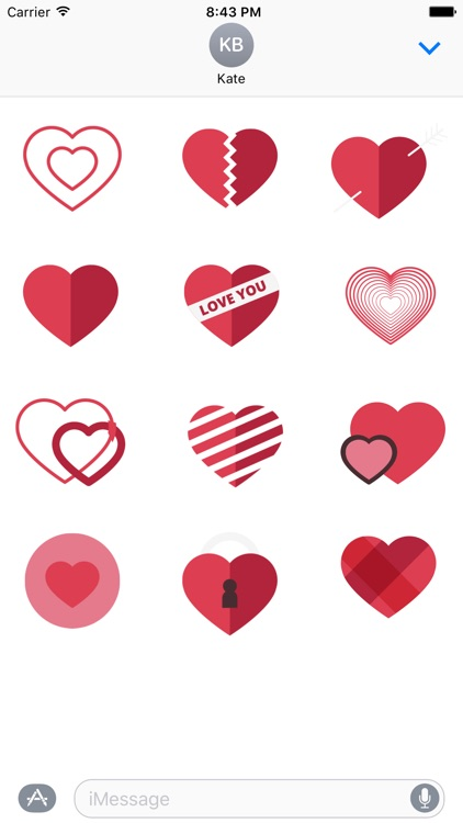Love You Heart Stickers for iMessage