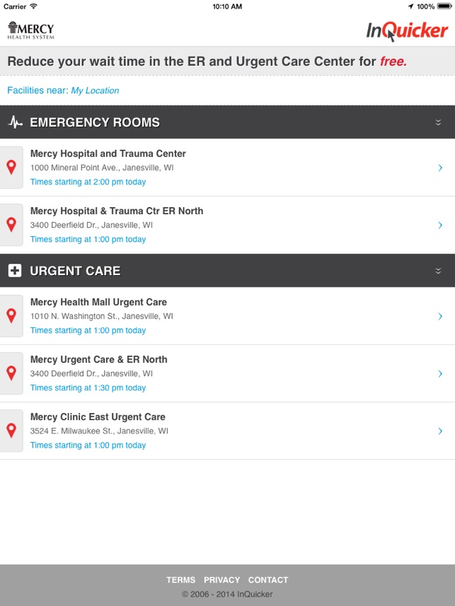 InQuicker: Mercy Health System Wisconsin on the App Store