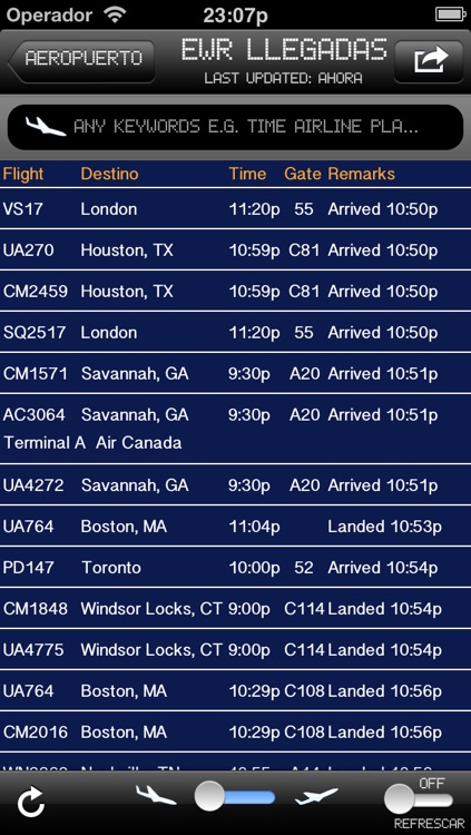 New Jersey Airport - iPlane2 Flight Information