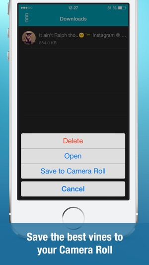 Video Downloader for Vine (Save unlimited vines to your Camera Roll, watch  best videos using handy player, vinegrab, save videos from private