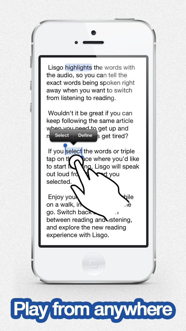 Listen to Pocket - Lisgo is the text to speech app for the web Screenshot
