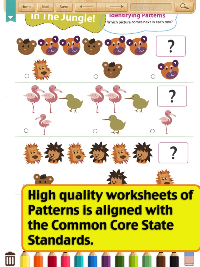 Printable Worksheets identifying patterns worksheets : Kids Math-Patterns Worksheets(Grade 1) on the App Store