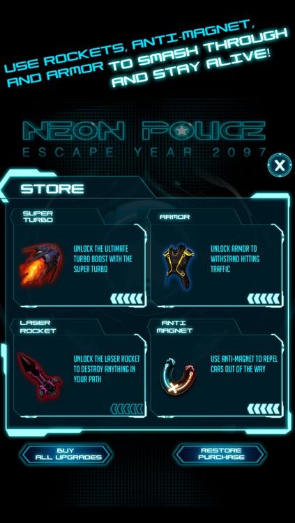 A Neon Police Escape Chase Future Sprint Battle Free Version HD screenshot-3