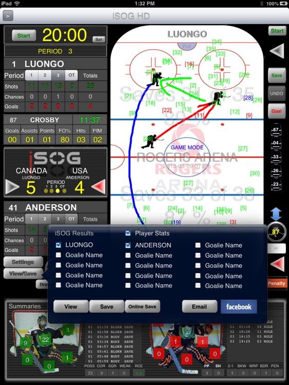 iSOG HD PRO Goalie & Player Stats Utility screenshot-4