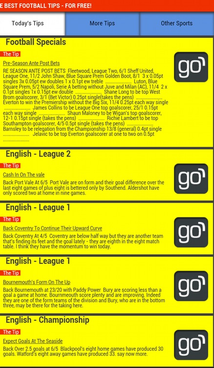 Gareth's Football Tips