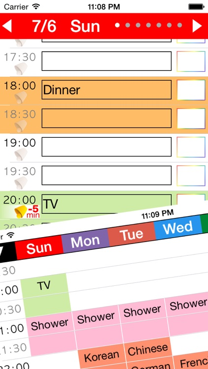 Week Table - Weekly Schedule Timetable / scheduler / planner