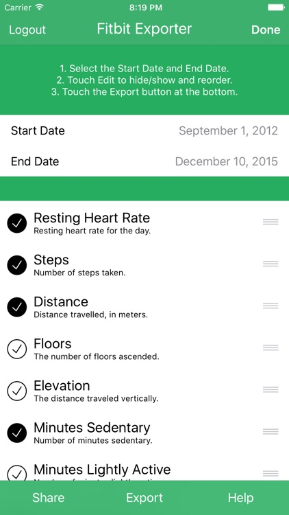 Health Exporter for Fitbit to CSV