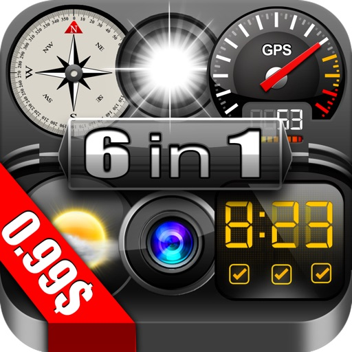 GPS Dragon 6 in 1 (1.Trip Pages, 2.Speedometer +, 3.Alarm Clock, 4.Compass, Flashlight, Speedometer, Altimeter, Course, 5.Weather Compass, 6.Compass  Pro)