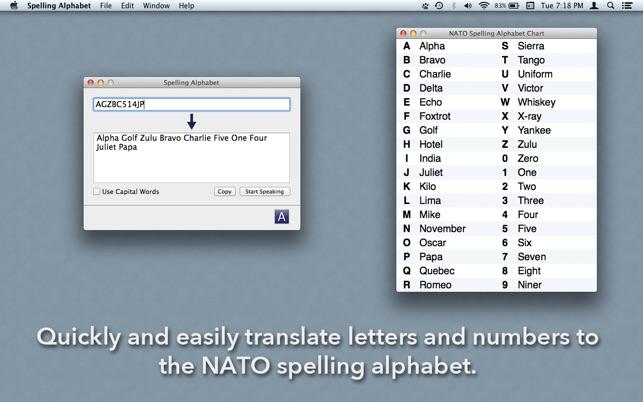 Spelling Alphabet on the Mac App Store