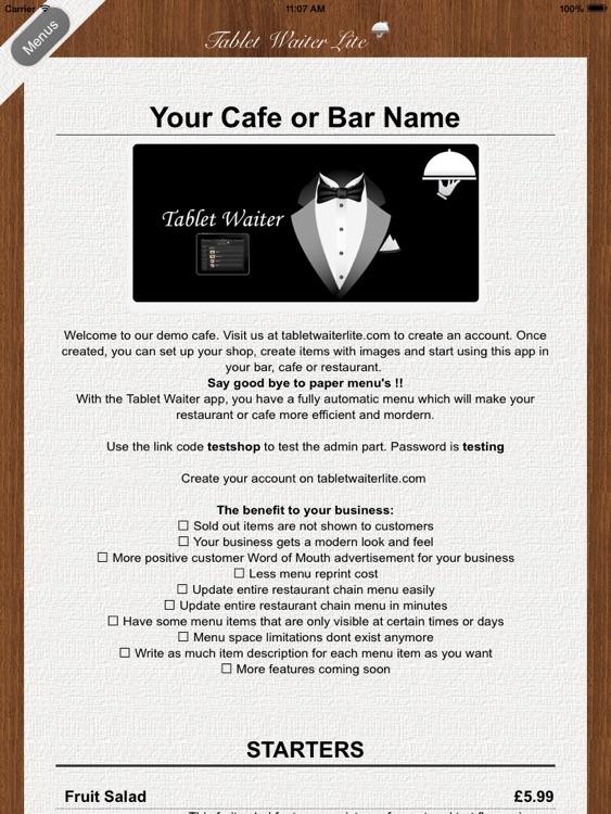 Tablet Waiter Lite screenshot-3