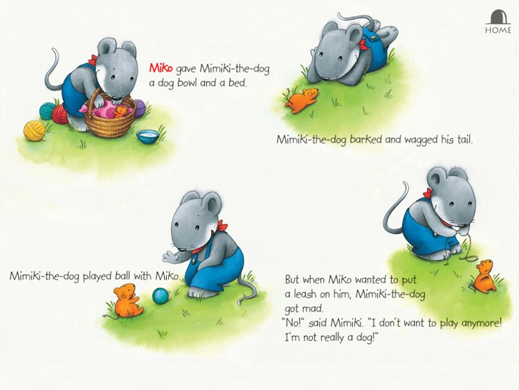 "Miko Wants a Dog: An interactive kids bedtime story book about a mouse wanting a pet to play with and how he gets one by helping his neighbor, by Brigitte Weninger illustrated by Stephanie Roehe (iPad ""Lite"" version; by Auryn Apps) screenshot-3"