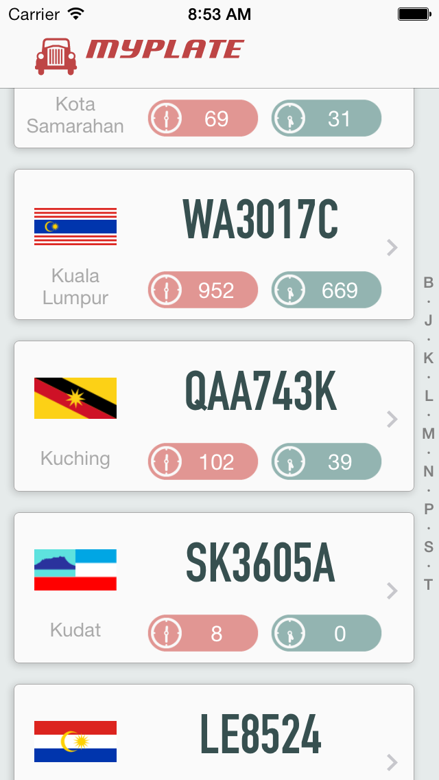 Malaysia Car Plate screenshot one
