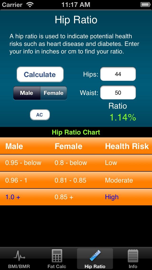 IPhat - BMR, BMI, & Hip/Neck Screenshot