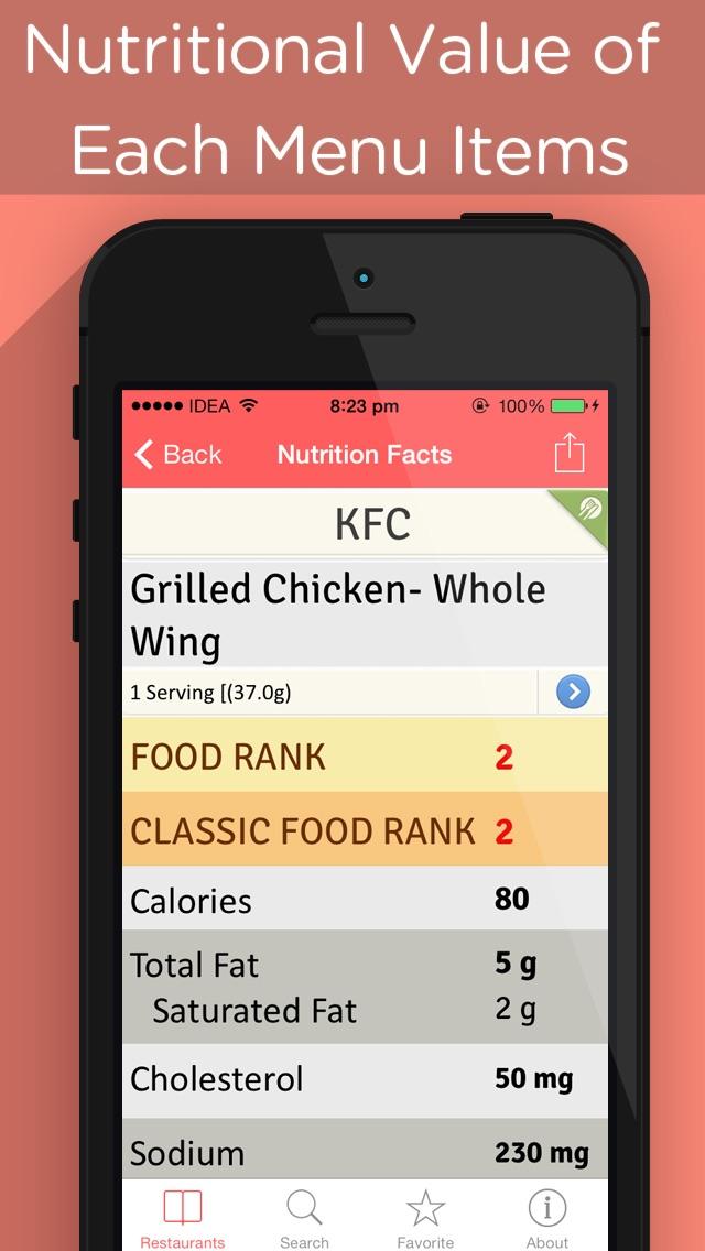 nutrismart restaurant menu fast food calories counter weight