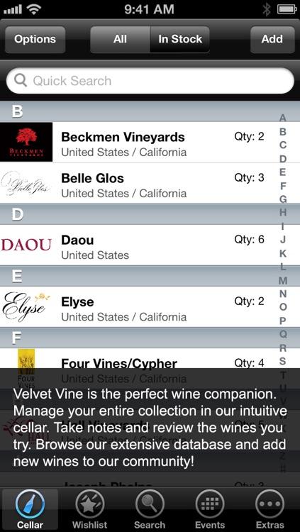 Velvet Vine - Wine Cellar Lite