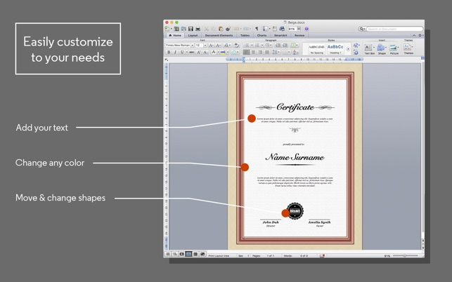 Certificate Maker for MS Word on the Mac App Store