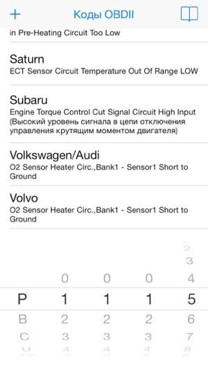 OBDII Trouble Codes - коды диагностики автомобиля