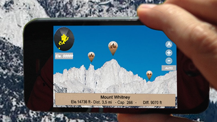US Mountains, peaks and hills in augmented reality