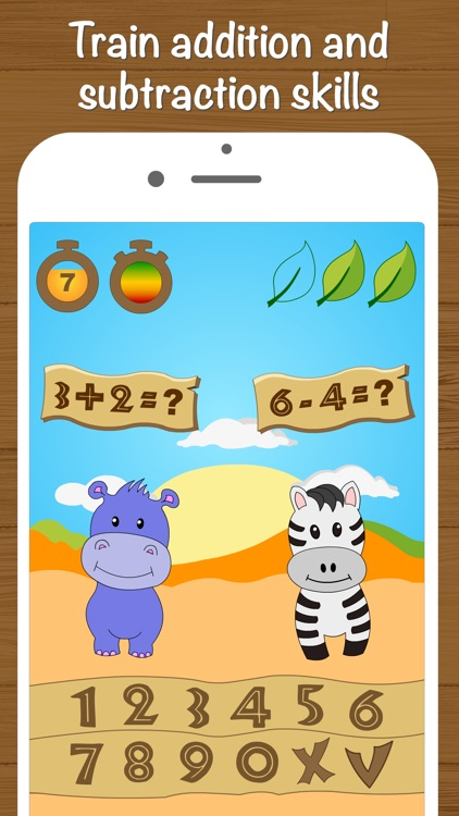 Safari Math - Addition and Subtraction game for kids screenshot-1