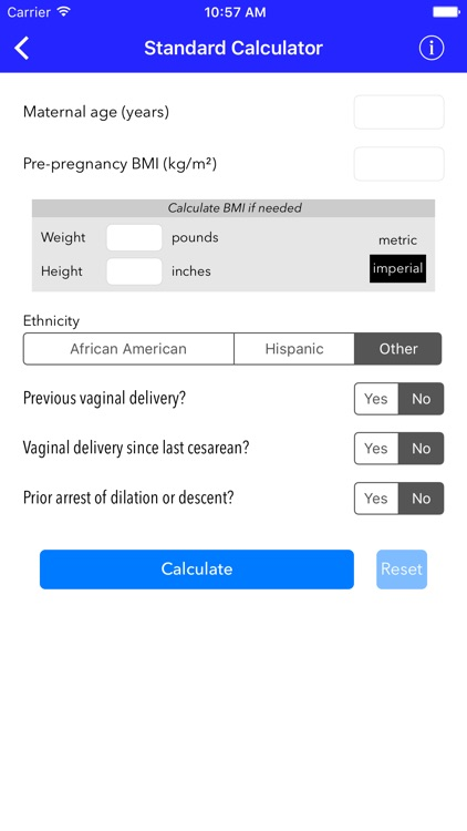 VBAC Calculator - Predict success rates for vaginal birth after cesarean