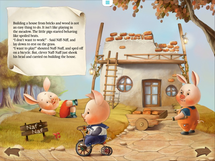 Three Little Pigs Today. Animated book for toddlers. screenshot-1