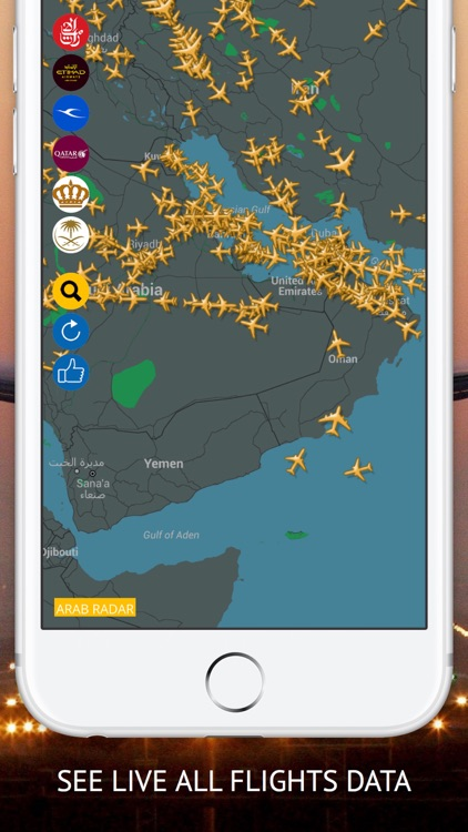 Arab Radar : Emirates, Air Arabia, Qatar, Etihad, Saudi, Royal Jordanian, Kuwait  Airways Live Flight Radar & Status