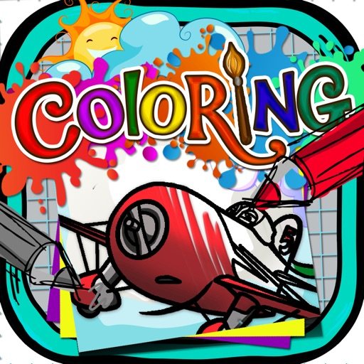Coloring Book : Painting Pictures on Planes Cartoon for Pro