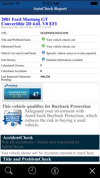 AutoCheck® Mobile for Consumers