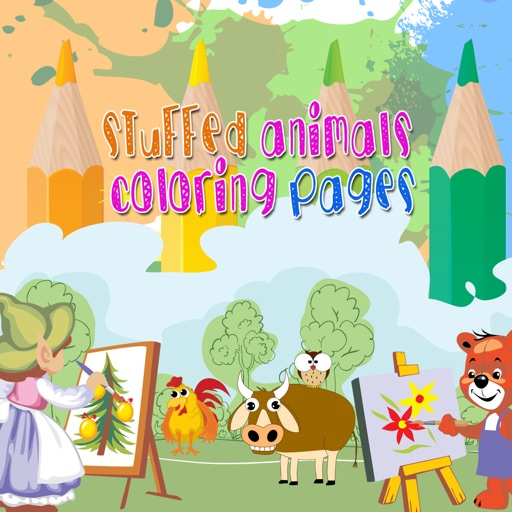 Stuffed animals painting coloring books for adults and kids