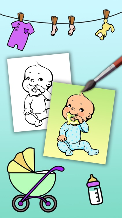 Paint Baby's Coloring Book - Color and paint new born babies drawings and paintings pictures & illustrations - Premium screenshot-3