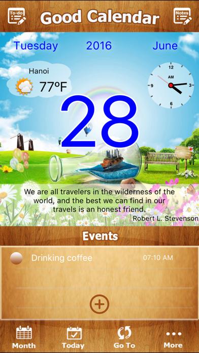 Good Calendar Free- Beautiful Calendar, To-do List, Weather, Notes Locker screenshot three